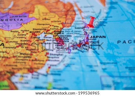 pushpin marking the location,Japan - stock photo