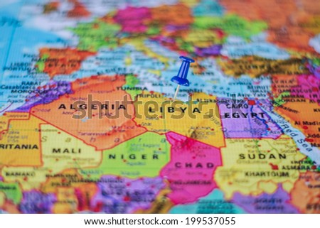 pushpin marking the location,Libya - stock photo