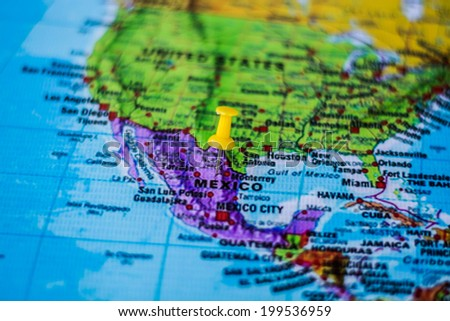 pushpin marking the location,Mexico - stock photo