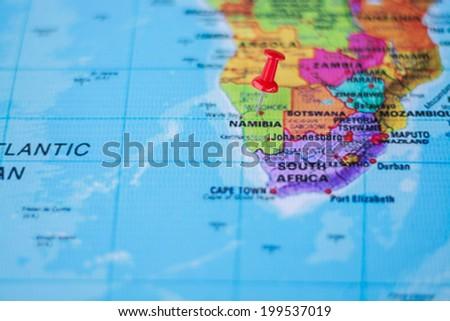 pushpin marking the location,Namibia - stock photo