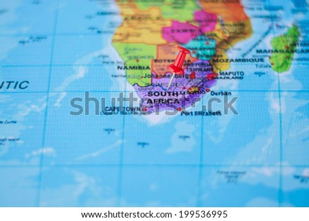pushpin marking the location,South Africa - stock photo
