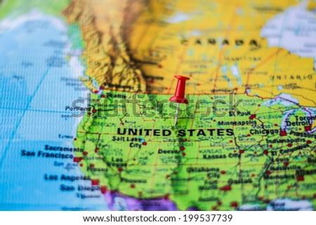 pushpin marking the location, United States - stock photo