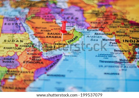 pushpin marking the location, Yemen - stock photo