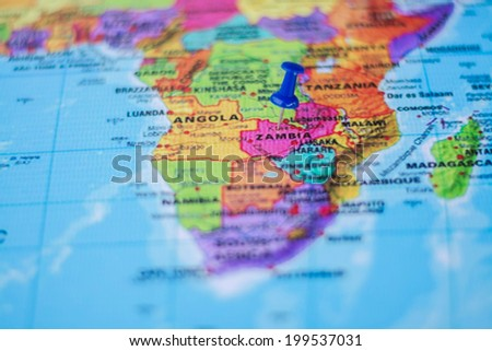pushpin marking the location,Zambia - stock photo