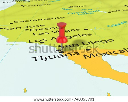 Pushpin On Tijuana Map Background 3d Stock Illustration 740055901