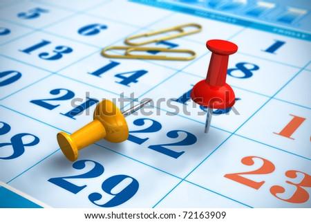 Pushpins and calendar. Shallow DOF effect - stock photo