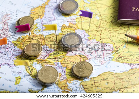 pushpins on the geographical map to plan a trip. Tourism and culture - stock photo