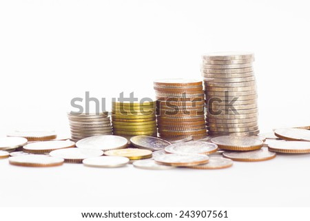put coin stack money for money growth concept