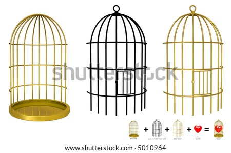 Put your object in the cage with Photoshop or GIMP (view sample on image) - stock photo