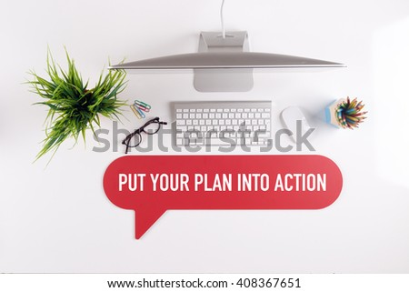 PUT YOUR PLAN INTO ACTION Search Find Web Online Technology Internet Website Concept - stock photo