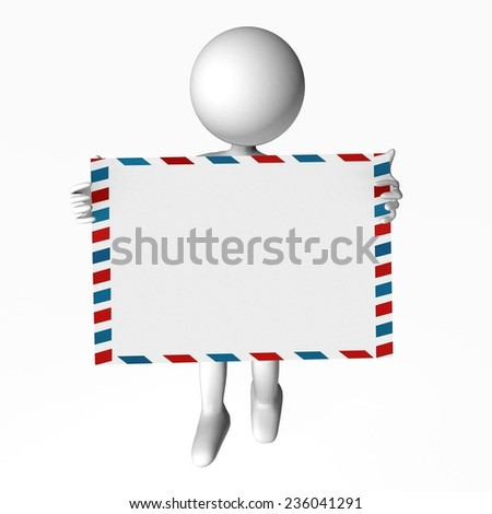 put your text here address - human character white holds a red blue line envelope - airmail message - stock photo