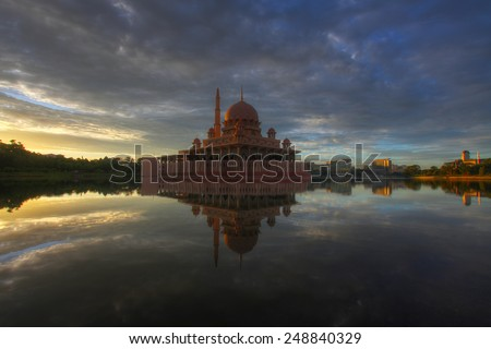 Putra Mosque during sunrise - stock photo