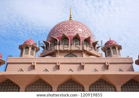 Putra Mosque is the principal mosque of Putrajaya, Malaysia. - stock photo