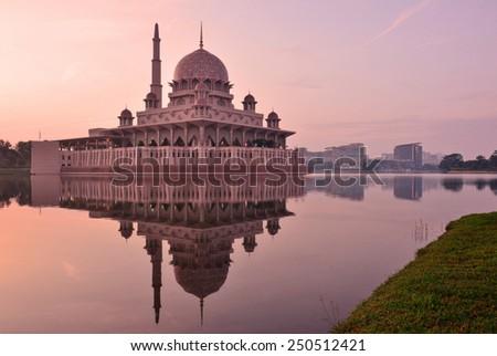Putra Mosque (Masjid Putra), Putrajaya, Malaysia. Sunrise moment. - stock photo