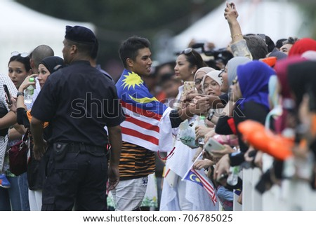 PUTRAJAYA, KUALA LUMPUR - Aug 29, 2017: A photo session after the medal presentation ceremony to the equestrian polo athlete at the 29th SEA Games.