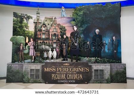 PUTRAJAYA, MALAYSIA - August 20, 2016: Miss Peregrine's Home for Peculiar Children poster displayed at Putrajaya Mall. The movie is directed by Tim Burton and screenplay writer by Jane Goldman