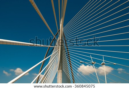 PUTRAJAYA, MALAYSIA - JAN 10,2016: Seri Wawasan Bridge on JAN 10, 2016 in Putrajaya. It is a 370m long bridge which is built across the Putrajaya Lake in Putrajaya, Malaysia.