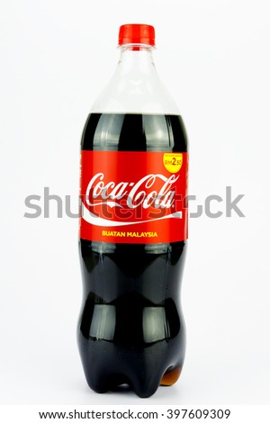PUTRAJAYA, MALAYSIA - MAC 25, 2015. Coca cola drink isolated on white. Coca cola drinks are produced and manufactured by The Coca-Cola Company, an American multinational beverage corporation. - stock photo