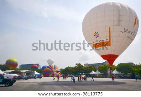 PUTRAJAYA, MALAYSIA-MAR 17:View of participants balloon at the 4th Putrajaya International Hot Air Balloon Fiesta on Mar 17, 2012 Putrajaya. The event held in Precinct 2, Putrajaya, Malaysia. - stock photo
