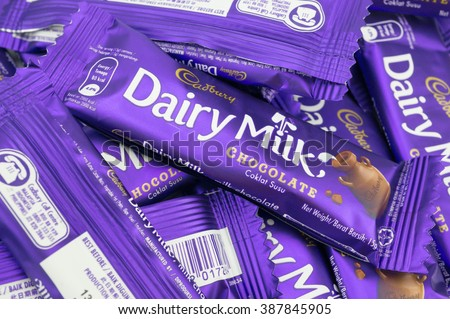 PUTRAJAYA, MALAYSIA - MARCH 7 2016. Cadbury is the second largest confectionery brand in the world and operates in more than fifty countries worldwide. - stock photo