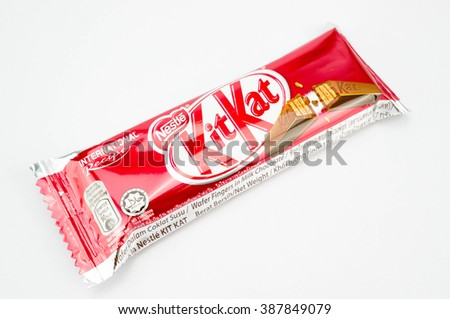 PUTRAJAYA, MALAYSIA, MARCH 7 2016. Kit Kat is a chocolate covered wafer bar created in 1911 by Rowntree's of York, England. - stock photo
