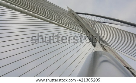 Putrajaya, Malaysia 01 May 2016 : A close-up of Sri Wawasan bridge architecture at Putrajaya..Image has grain or blurry or noise and soft focus when view at full resolution. (Shallow DOF ).