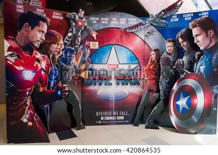 PUTRAJAYA, MALAYSIA - MAY 15, 2016: A wall sized Captain America poster displayed during a roadshow in IOI Putrajaya Mall on 15 May 2016. Captain America: Civil War premieres is on 28th April 2016. - stock photo