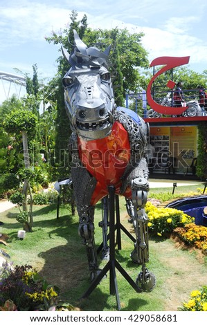 PUTRAJAYA, MALAYSIA -MAY 30, 2016: Replica of horse made from recycle and scrap metals display at the Royal Floria Putrajaya 2016 Event in Putrajaya, Malaysia.