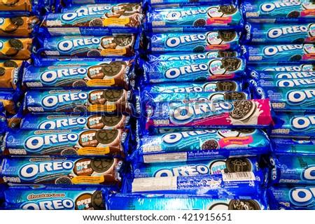 PUTRAJAYA, MALAYSIA - MAY 15, 2016: Rows of Oreo Biscuits inside hypermarket in Putrajaya, Malaysia. - stock photo