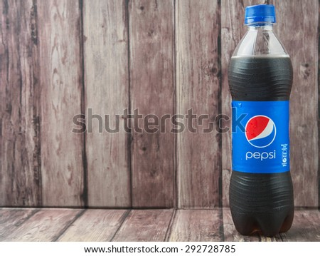 PUTRAJAYA, MALAYSIA - 2ND JULY, 2015. Pepsi soft drink. Pepsi is a carbonated soft drink produced and manufactured by PepsiCo Inc. an American multinational food and beverage company.