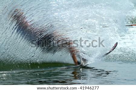 PUTRAJAYA, MALAYSIA - NOVEMBER 7: An unidentified participant shows their skills during 2009 Putrajaya International Waterski and Wakeboard competition on November 7, 2009 in Putrajaya, Malaysia - stock photo