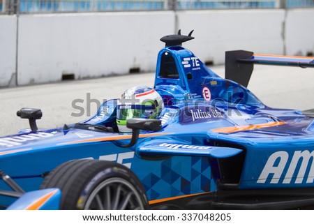 Putrajaya, Malaysia - November 7, 2015 : Close up of Swiss Simona de Silvestro of Team Amlin Andretti at FIA Formula-e ePrix Championship Putrajaya, Malaysia - stock photo