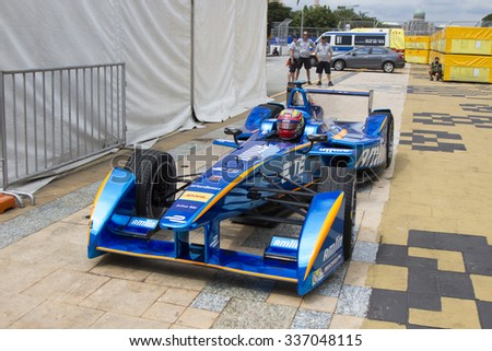Putrajaya, Malaysia - November 7, 2015 : Netherlands Robin Frijns of Team Amlin Andretti enters podium parking after winning 3rd at FIA Formula-e ePrix Championship Putrajaya, Malaysia - stock photo