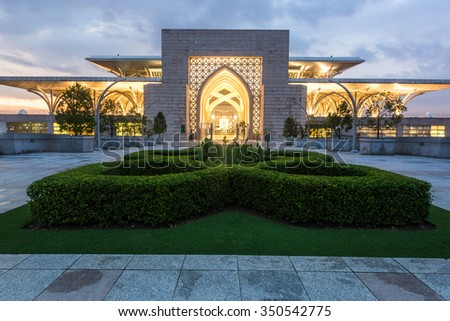 Putrajaya, Malaysia - 30 November 2015: Steel Mosque or Tunku Mizan Zainal Abidin Mosque from the court yard.