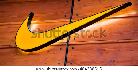 PUTRAJAYA, MALAYSIA - SEPTEMBER 11, 2016: Nike logo. Nike is one of famous sports fashion brands worldwide and it is one of the world's largest suppliers of athletic shoes and apparel.