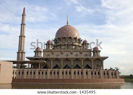 Putrajaya mosque in Kuala Lumpur Malaysia. - stock photo
