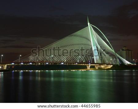 Putrajaya ( near Kuala Lumpur, Malaysia) bridge at night - stock photo