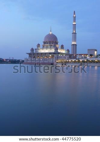 Putrajaya ( near Kuala Lumpur, Malaysia) mosque at dusk - stock photo
