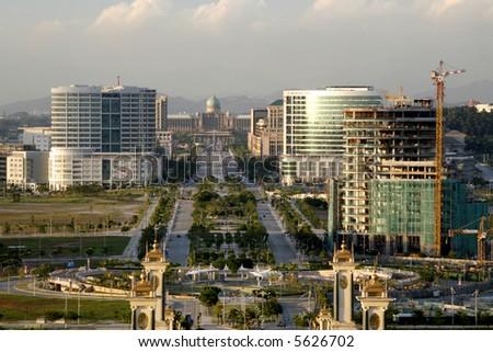 "Putrajaya overlooking the boulevard toward the prime minister's ""Putra Perdana"" office. - stock photo"