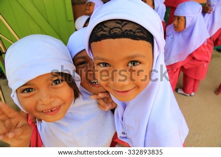 PUTTANEE, THAILAND - JULY 27, 2012 : Muslim children in school