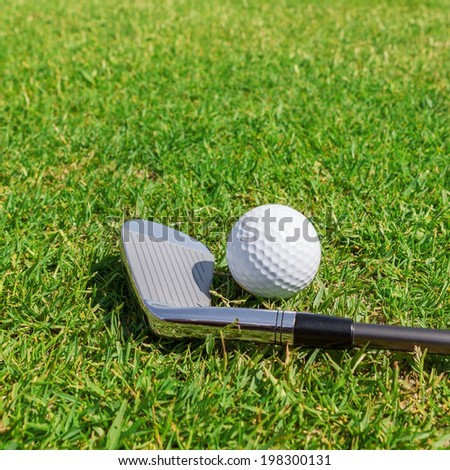 Putters and ball on grass. Close-up. - stock photo