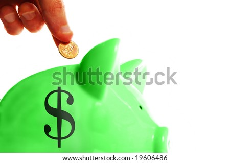 putting a penny in the piggy bank, on white - stock photo