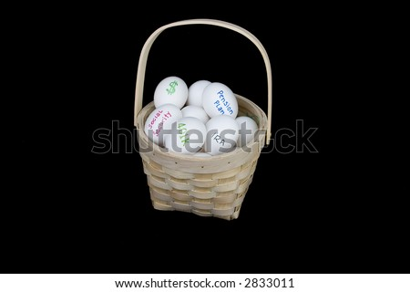 putting all your retirement accounts in one basket - stock photo