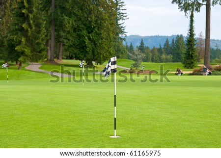 Putting area over a blurred green. Shallow depth of field. Focus on the closest flag. - stock photo
