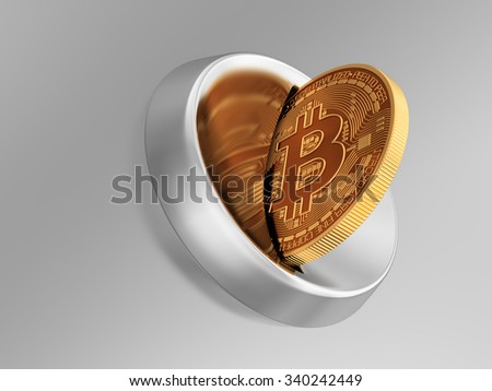 Putting Bitcoin Into Coin Slot And Creating Heart Shape With Reflection. 3D Scene.