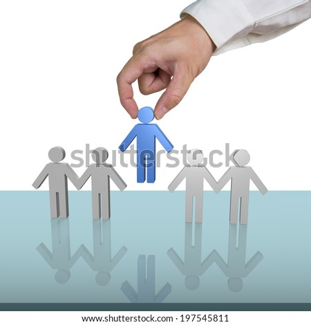 Putting blue 3d people in hand link on glass table - stock photo