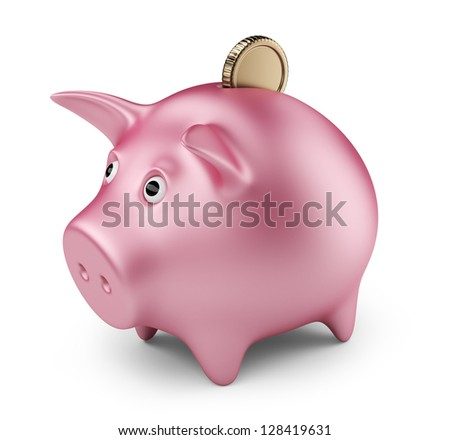 Putting coin into  piggy bank. Investment.  3D Icon isolated - stock photo