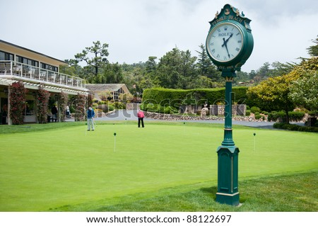 Putting Green at Pebble Beach Golf Course - stock photo