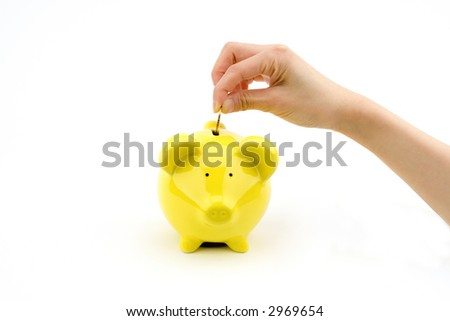 Putting money in Piggy Bank - stock photo