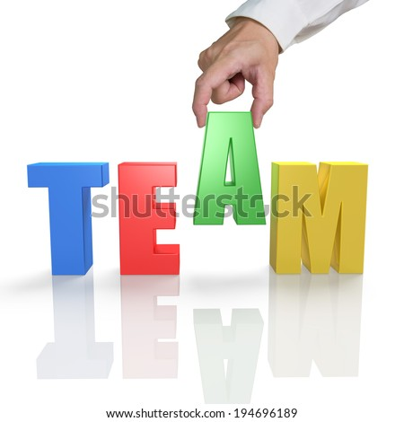 Putting TEAM 3D word together with reflection in white background - stock photo